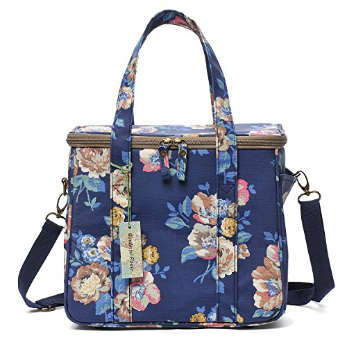 WONDERFUL FLOWER Large lunch bags for women Insulated Picnic Bag lunch Box Bag (G03 Navy)