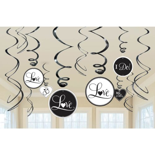 Amscan Value Pack Elegant and White Foil Swirl Wedding Party Decorations, (Elegant Swirl)