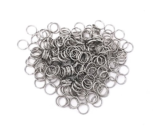 Honbay 200pcs 12mm Nickel Plated Metal Split Rings Crystal Curtain Connect Rings, Key Rings, Earring Necklace Jewelry Making Accessories