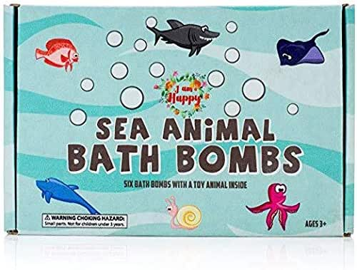 Kids Bath Bombs with Surprise Inside: Sea Animal Toys Inside, Great Bath Bombs Gift Set for Boys and Girls, Safe Ingredients that Don't Stain the Tub. Educational Learning Toys for 3 years old and up