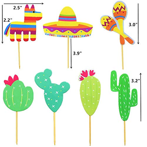 JeVenis (42 pcs) Fiesta Cupcake Toppers Mexican Fiesta Party Striped Decorative Cake Topper for Mexican Themed Cactus Donkey Taco Pepper Sombrero Mustache Party Decorations by JeVenis (Image #3)