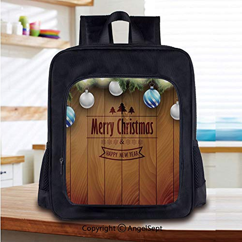 Print School Backpacks For Girls Kids Wooden Setting with Silver Balls Fairy Tale Setting and Pine Tree Twigs Wishes Theme Elementary School Bags Bookbag,Brown]()
