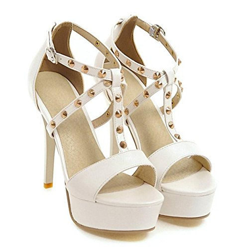 White Shoes Heel T Strap TAOFFEN Sandals Women's High Swq00U
