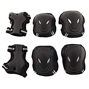 Kingcentom Men/Women Knee Pads Elbow Pads Wrist Guards 6Pcs Protective Gear Set for Multi Sports Skateboarding Inline Roller Skating Cycling Biking BMX Bicycle Scooter (Blue)