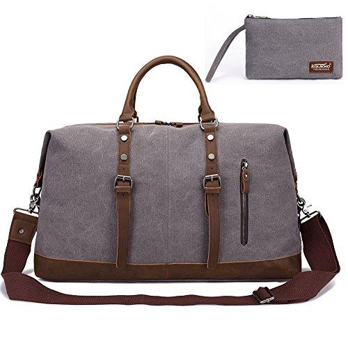 KAUKKO Weekender Handgepäck Reisetasche Canvas Sporttasche Vintage Segeltuch Holdall Reise Duffle Übernachtung Wochenende Satchel Handtaschen