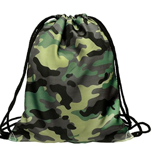 Cheap BESSKY 3D Military Green Printing Bags Drawstring Backpack(39cm33cm)
