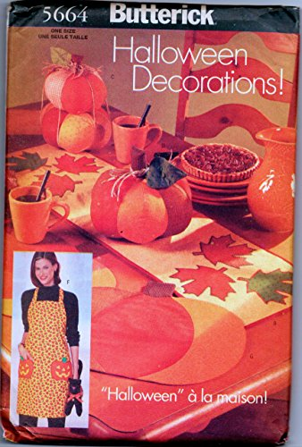 Butterick 5664 Halloween Decorations Sewing Pattern, Apron, Table Runner, Pumpkins, Placemat, Cat, Door Hanger -