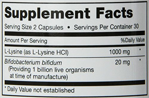 "Maxi Health Lysine Complex with Probiotics ""1000 mg"" Anti Viral Support 60 Capsules Kosher"