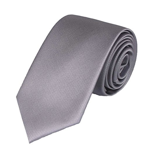 Striped Silk Skinny Tie (WITZROYS Men's Skinny Solid Tie Bias Striped Necktie 100% Silk with Gift Box Packing (2.75 x 59'') (Grey))