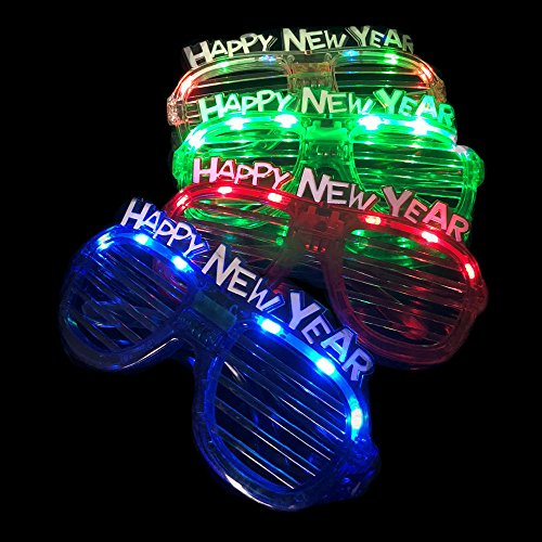 Fun Central (BC919) LED New Year Slotted Shades - Assorted - Sunglasses Eve Years New