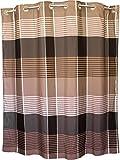 BigKitchen Brown Plaid Hookless Polyester Shower Curtain, 71 x 74 Inch