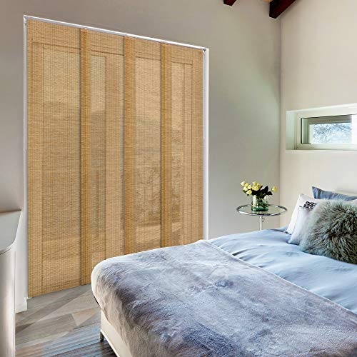 Godear Design Deluxe Adjustable Sliding Panel 45.8″-86″ x 96″, 4-Rail, Natural Woven Fabric, Semi-Privacy, Breeze