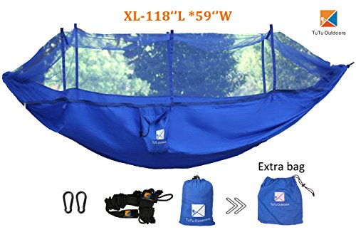 Price comparison product image 2017 Newest TuTu XL Camping Hammock with Mosquito Net Ripstop Nylon Strength-Premimum Quality Ultralight and Durable Bug Free Net-Perfect for Backing, Hiking, Travel, Backyard-118''L59''W