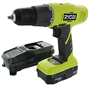 Ryobi P1810 One+ 18V Lithium Ion Drill / Driver Kit (3 Piece: 1 x P209 Drill / Driver, 1 x P102 18 V Lithium Ion Battery, 1 x P118 Dual Chemistry Charger)