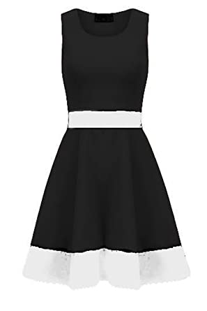f3d70efc76 Be Jealous Womens Stretchy Ladies Contrast Panel Sleeveless Knee Length  Flared Skater Dress S