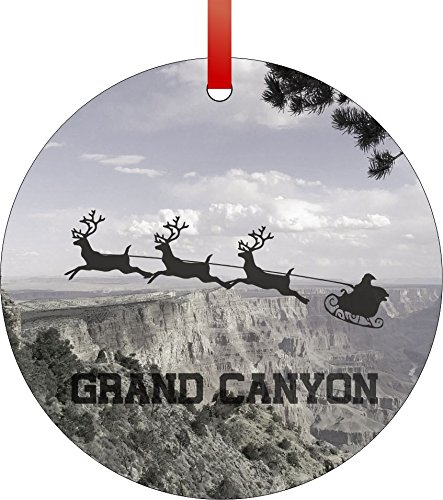 Santa and Sleigh Riding Over The Grand Canyon-Arizona-USA-Round Aluminum Christmas Ornament with a Red Satin Ribbon/Holiday Hanging Tree Ornament/Double-Sided Decoration/Great Unisex Holiday Gift! ()