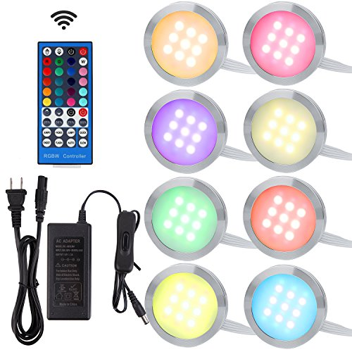 Aiboo RGBWW RGB + Warm white Color Changing Christmas Xmas Decorating Under Cabinet LED Lighting Kit Wireless 40-Key IR Remote Control for Party Entertainment Lighting (RGBWW, 8 Lights, 24W)