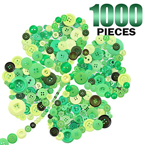 - Keadic 1000PCS Buttons Favorite Findings Basic Resin Buttons 2 and 4 Holes for DIY Crafts Sewing Christmas Party Decorations Children's Manual Button Painting - Green