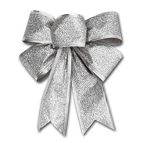 CHDHALTD 10 Pack Christmas Bow for Santa Decorations, Gifts & Presents Wrapping, Hanging Door Decor with Wire, Christmas Tree, Party Supply (Silver) by CHDHALTD (Image #5)