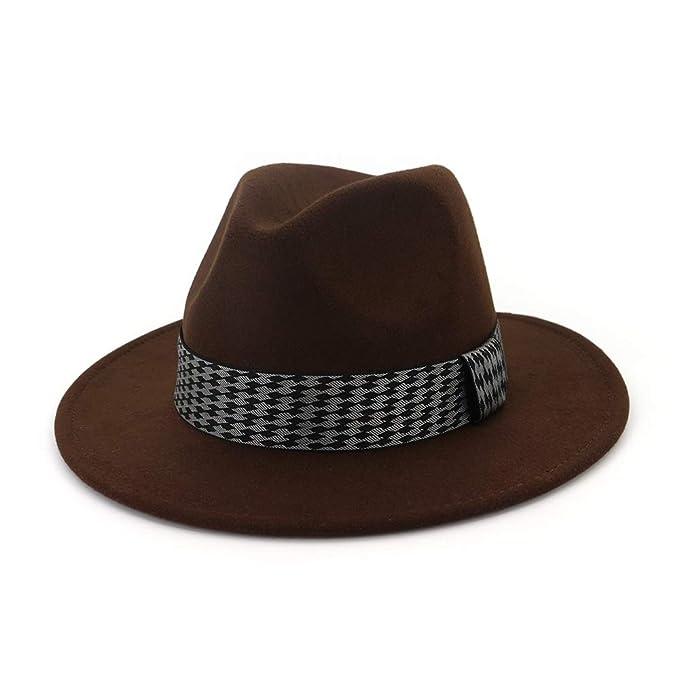 Sombrero de Fedora de ala ancha para mujer Sombrero de jazz clásico de  invierno Gorras de jazz de ante vintage Trilby (Color   Brown 043c76746c4
