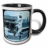 3dRose Scenes from the Past Magic Lantern Slides - Vintage Detroit Tigers Making the Catch Black and Cyan - 11oz Two-Tone Black Mug (mug_16241_4)
