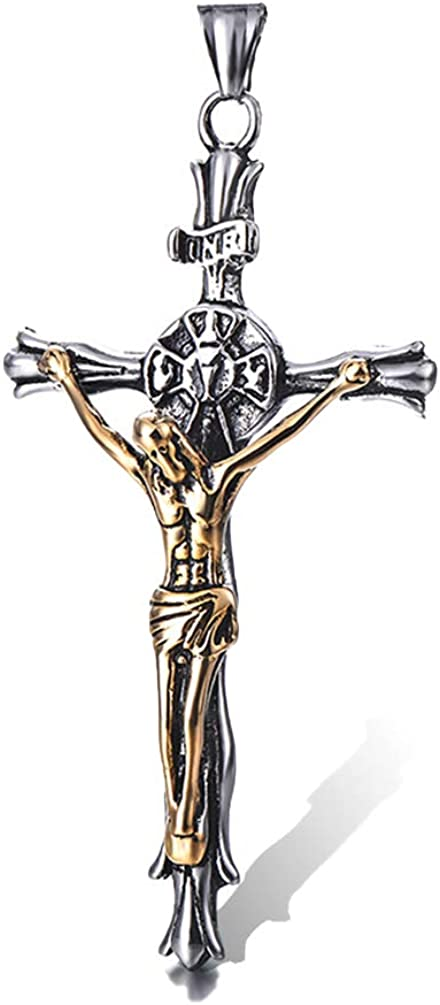 Linguanzhubao Jesus Titanium Steel Cross Pendant Retro Mens Stainless Steel Casting Men and Women Titanium Steel Personality Accessories Youth Popular Jewelry