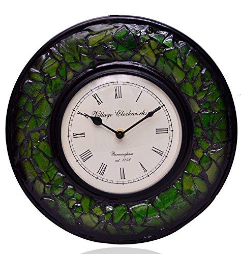 Purpledip Wall Clock 'Green Magic'' - Mosaic of Glistening