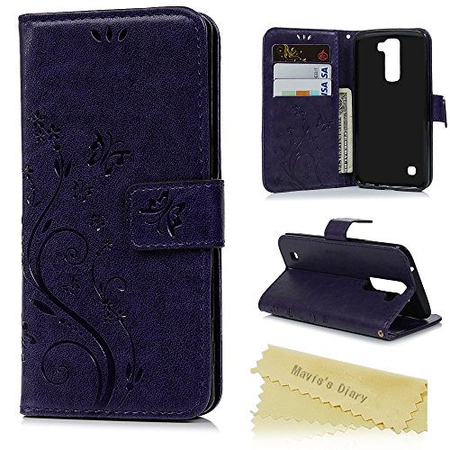 Quiksilver Embossed Belt (LG K10 Case - Mavis's Diary Premium Wallet PU Leather Magnetic Flip Case with Fashion Embossed Floral Butterfly Card Holders Hand Strap Soft TPU Rubber Inner Cover -)