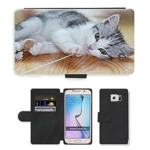 PU LEATHER case coque housse smartphone Flip bag Cover protection // M00133688 Gatito del gato del perrito juguetón // Samsung Galaxy S6 (Not Fits S6 EDGE)