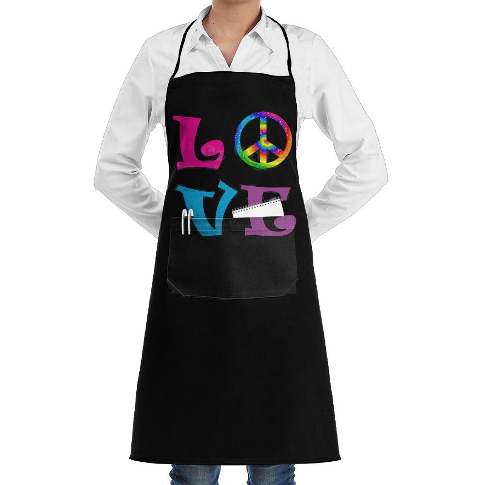 Peace Love Tie Dye Cooking Kitchen Aprons With Pockets Bib Apron For Cooking, Baking, Crafting, Gardening, BBQ