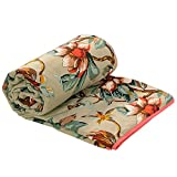 Twin Size Lightweight Soft Cotton Dohar Blanket Indian Floral Print Voiles 60 x 90 Inch