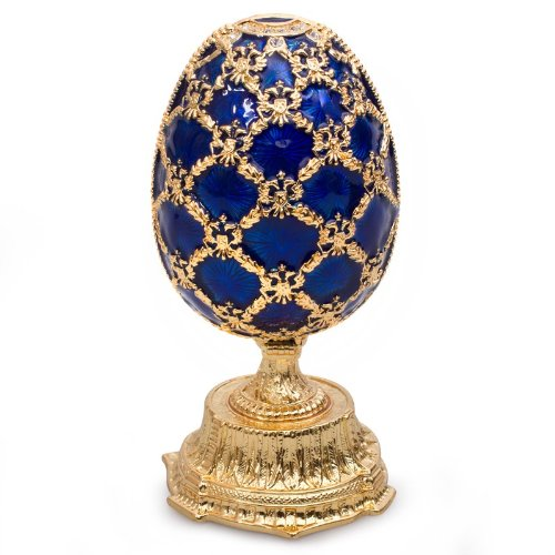 AKM Swarovski Crystals Double Egg w/Clock Blue Gold for sale  Delivered anywhere in USA