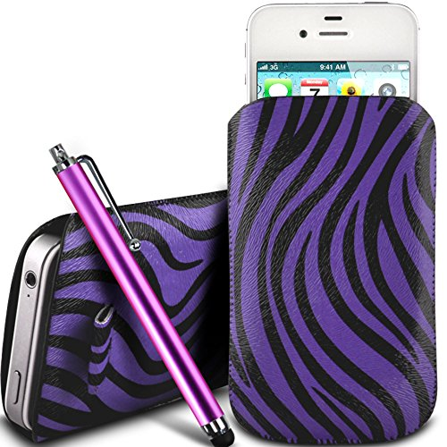 N4U Online - Apple Iphone 3GS protection en cuir PU Zebra Conception Pull Tab cordon glisser Housse Etui Quick Release et Grand Stylus Pen - Violet