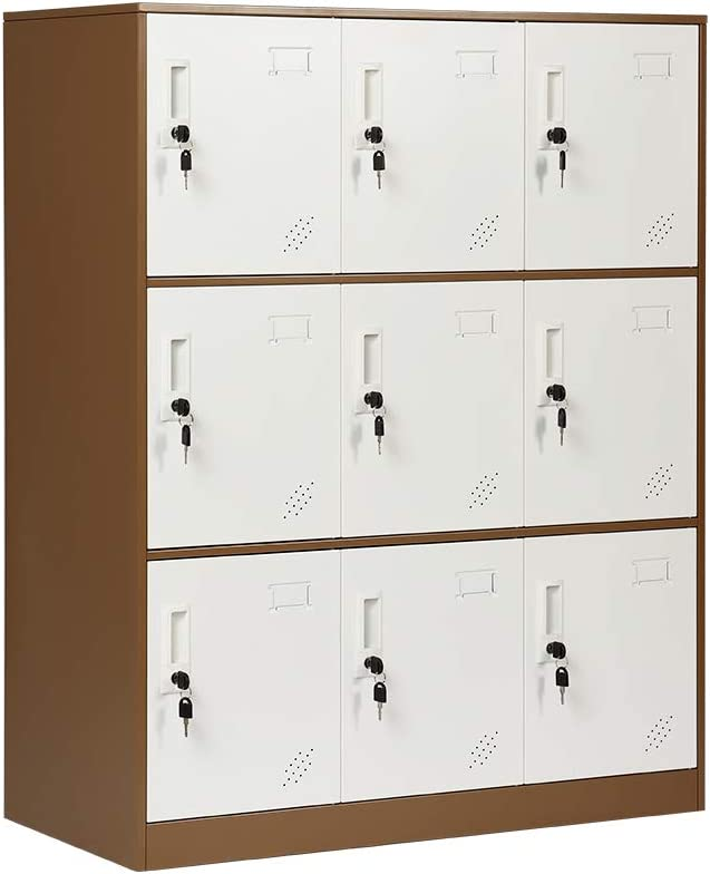 HomeNice 9 Doors Metal Storage Cabinet with Card Slot, Organizer,Shoes and Bags Steel Locker for Office, Home, Bank, School, Gym (Coffee)