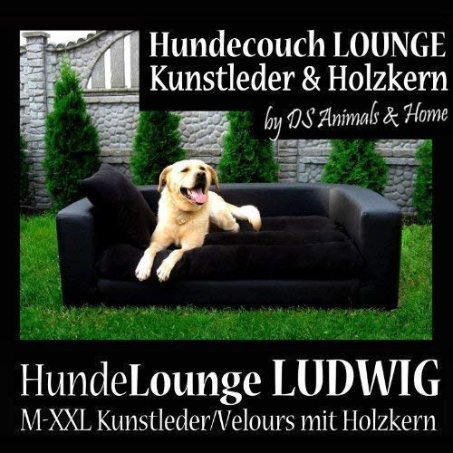 L4-v-01 Dog Bed Dog Couch Ludwig 100cm Brown Faux Lether with Wood Core and Velour Mattress for Medium Sized Dogs