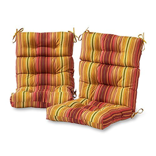Greendale Home Fashions Outdoor High Back Chair Cushion (set of 2), Kinnabari Stripe