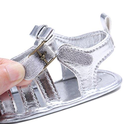 BOBORA Bebe Ninos Verano Zapatos Mate PU Sandalias Casuales Para 0-18 M plata