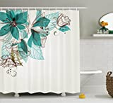 Teal Shower Curtain Turquoise Shower Curtain Decor by Ambesonne, Flowers Buds Leaf at the Top Left Corner Retro Art Festive Season Celebration Design, Polyester Fabric Bathroom Shower Curtain Set with Hooks, Teal Brown