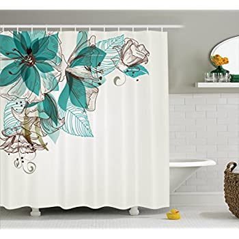 turquoise decor shower curtain floral decor by ambesonne vintage style flowers buds with leaf retro