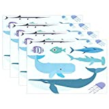 Whale Jellyfish Ocean animals Place Mat Table Mat for Kitchen Dining Room Heat Insulation anti-skid Home Decor by MOCK ST Place Mat 12 x 18 inches Set of 4