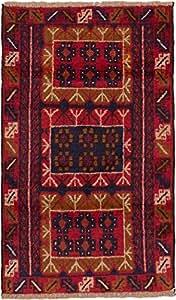 "eCarpetGallery Hand-knotted Bahor 2'9"" x 4'5"" Wool Rug, Dark Burgundy"