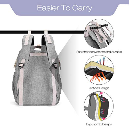 Diaper Bag Backpack,OSOCE Baby Nappy Bags Multi-Function Travel Diaper Backpack with Crib & Stroller Straps,Large Capacity,Waterproof and Stylish,Grey