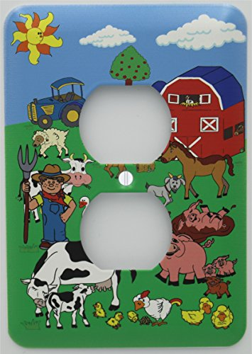 Farm Outlet Switch Plate Cover/Barn Animal Outlet Cover/Barnyard Wall Decor by Presto Wall Decals