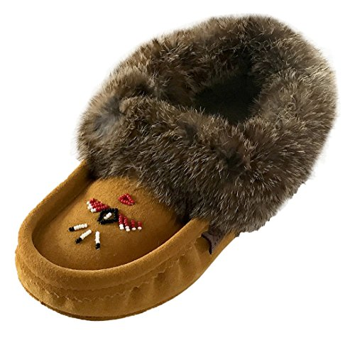 Laurentian Chief Womens Indoor Suede Slippers with Rabbit Fur Collar Moccasins tCWhnp