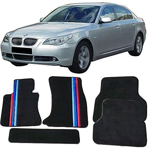 Floor Mat Fits 2004-2009 BMW E60 5 Series | Front & Rear OE M Color Stripe Car Floor Carpets Carpet liner by IKON MOTORSPORTS | 2005 2006 2007 - Bmw 525i 2009