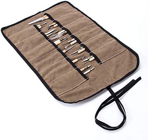 DIY粘土ツールバッグ、彫刻ツールロール、12スロットキャンバスチゼルバッグ、高耐久陶器ツールストレージバッグ、パンプキン彫刻と削り彫刻ツールロールバッグ