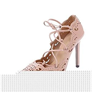 Gome-z Sexy Pointy Toe Stiletto High Heels Patent Ankle Strap Wedding Shoes Slingback Heeled Women Pumps US Size 5-15 Blue 14