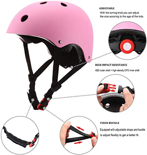 Adjustable Kids Skateboard Helmet,Bike Helmet Knee Elbow Pads Wrist Pads 7 in 1 Protective Sports Gear Set Suitable for Ages 3-8 Years Roller Skating Scooter Cycling Toddler Boys Girls (Pink)