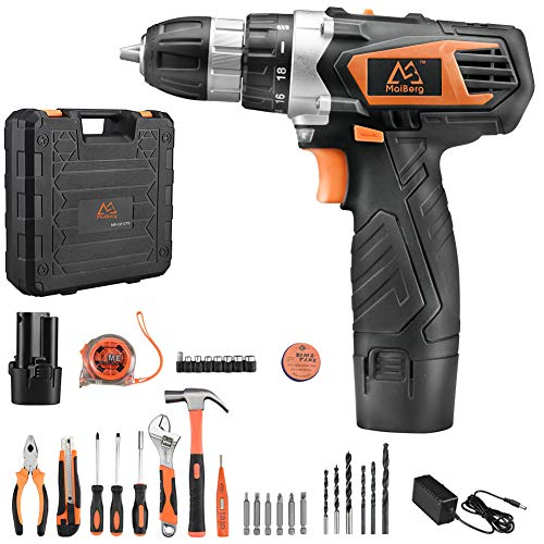 Cordless Drill, Power Drill Driver 12V with 1x1.5Ah Batteries, Charger, 18+1 Torque Setting, 2-Variable Speed Max Torque 200 In-lbs, 3/8' Keyless Chuck