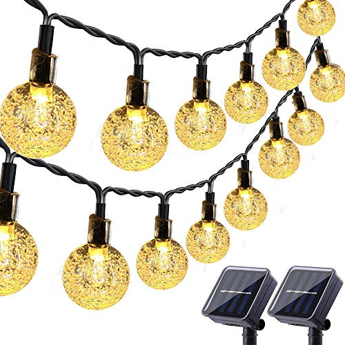 Toodour Solar String Lights 50 LED 29.5ft Solar Patio Lights with 8 Modes, Waterproof Crystal Ball String Lights for Patio, Lawn, Garden, Wedding, Party, Christmas Decor(Warm White, 2 Pack)